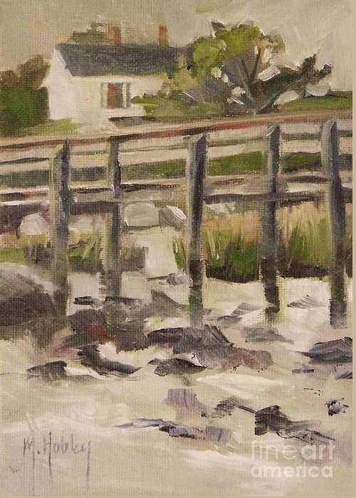 Doodlefly Greeting Card featuring the painting By The Dock by Mary Hubley
