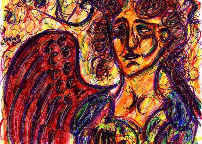 Angel Greeting Card featuring the drawing Byzantine Angel by Rachel Scott
