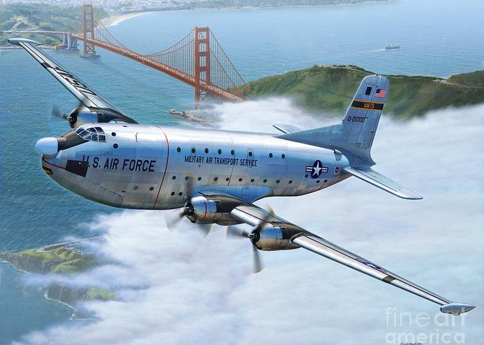 C-124 Greeting Card featuring the digital art C-124 Shakey Over The Golden Gate by Stu Shepherd