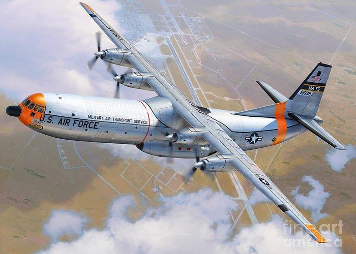 C-133 Greeting Card featuring the digital art C-133 Cargomaster Over Travis by Stu Shepherd
