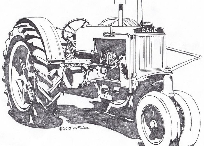 Tractor Greeting Card featuring the drawing C-case by David Fuller
