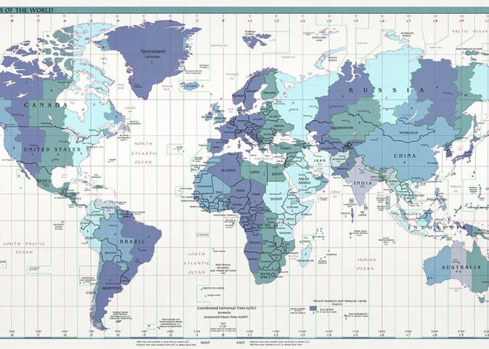 C I A World Map With Time Zones Greeting Card