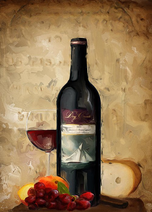 Fruit And Wine Paintings Greeting Cards