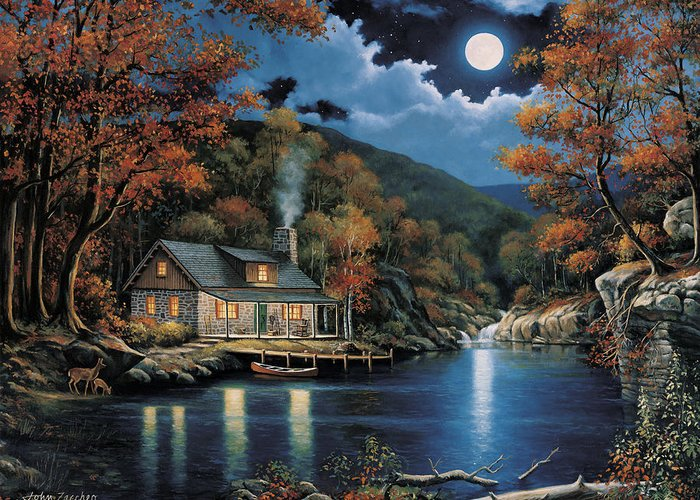 Pallet Greeting Card featuring the painting Cabin By The Lake by John Zaccheo