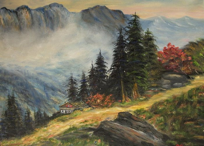 Landscape Greeting Card featuring the painting Cabin In The Alps by Kenneth LePoidevin