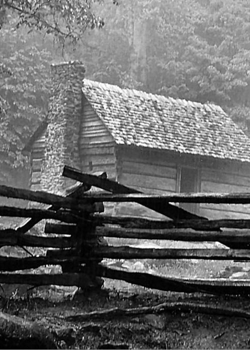 Log Cabins Greeting Card featuring the photograph Cabin In The Fog by Julie Dant