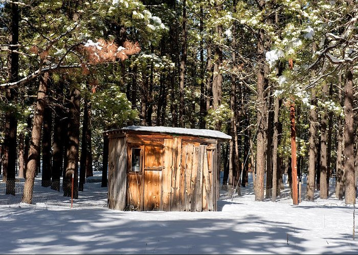 Shack Greeting Card featuring the photograph Cabin In The Snow by Joe Belanger