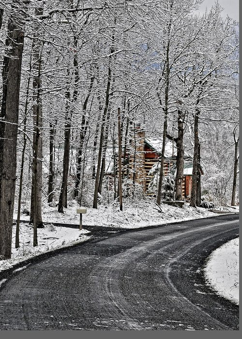 Peaceful Winter Scene Greeting Card featuring the photograph Cabin In The Woods by Lara Ellis