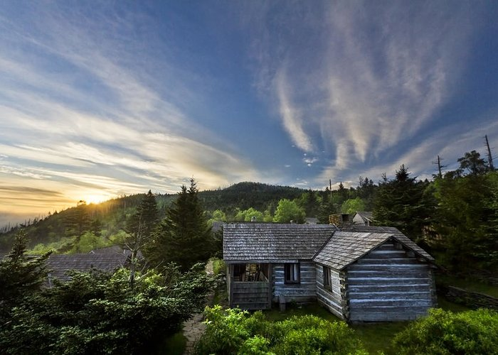 Appalachia Greeting Card featuring the photograph Cabins At Dawn by Debra and Dave Vanderlaan