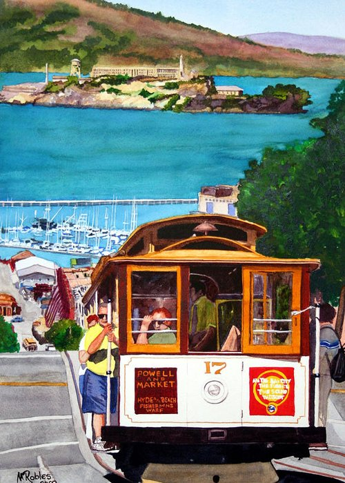 San Francisco Greeting Card featuring the painting Cable Car No. 17 by Mike Robles