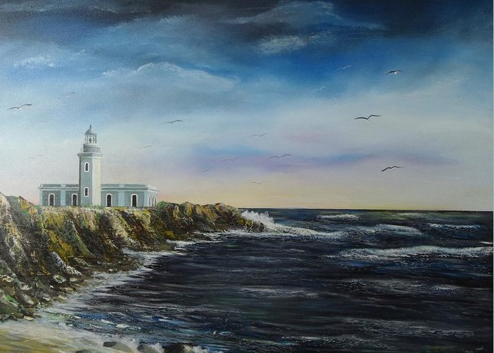 Cabo Rojo Lighthouse Greeting Card featuring the painting Cabo Rojo Lighthouse by Tony Rodriguez