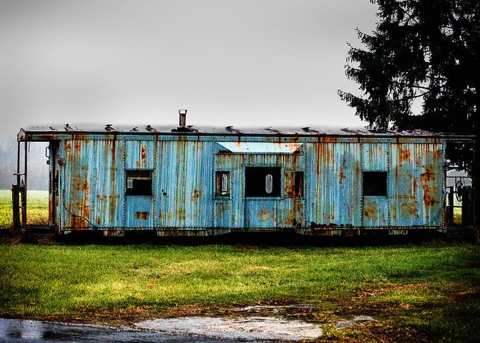Caboose Greeting Card featuring the photograph Caboose On A Farm by Bill Swartwout Fine Art Photography