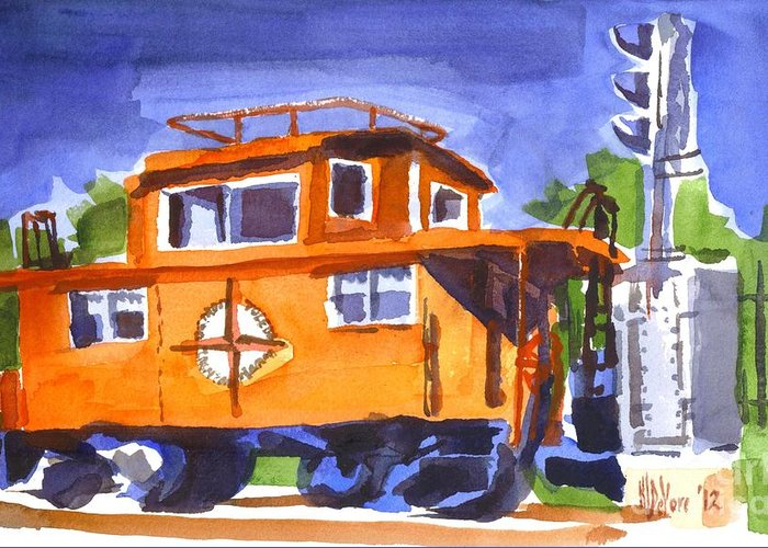Caboose With Silver Signal Greeting Card featuring the painting Caboose With Silver Signal by Kip DeVore