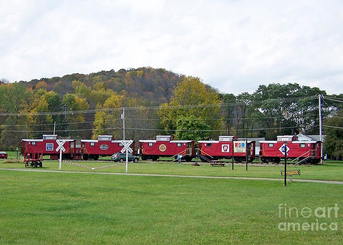 Caboose Greeting Card featuring the photograph Cabooses In Upstate New York by Tom Doud