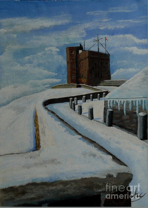 Landscape Greeting Card featuring the painting Cabot Tower Newfoundland by Anthony Dunphy