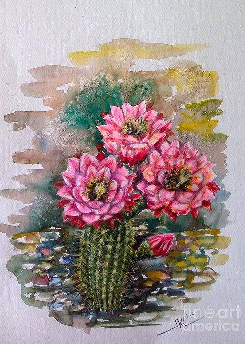 Cactus Greeting Card featuring the painting Cactus Blossom by Katerina Kovatcheva