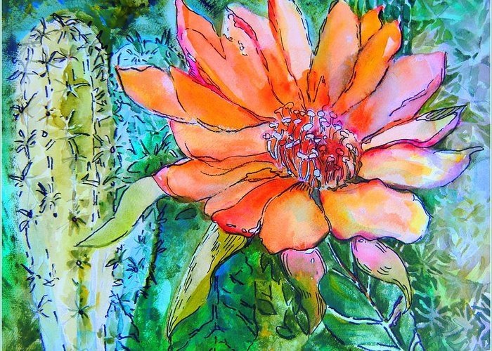 Flower Greeting Card featuring the painting Cactus Flower by Mindy Newman