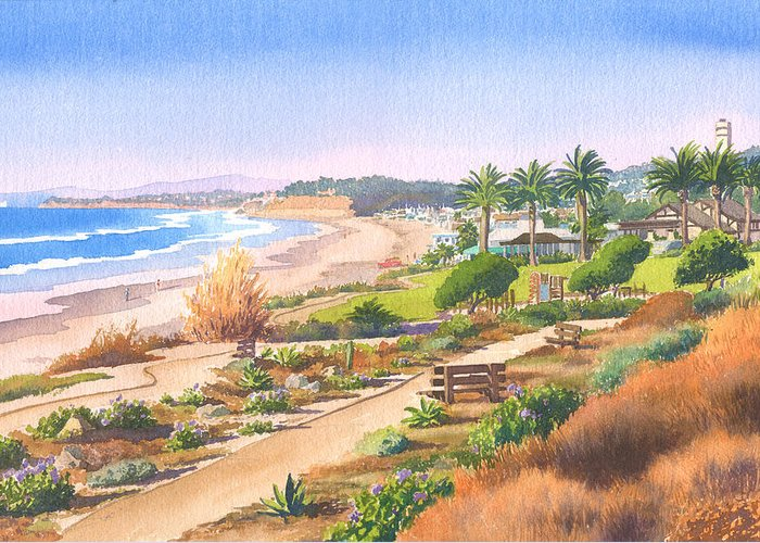Cactus Greeting Card featuring the painting Cactus Garden At Powerhouse Beach by Mary Helmreich