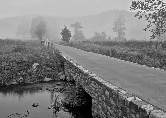 Cades Greeting Card featuring the photograph Cades Cove Black And White by Frozen in Time Fine Art Photography