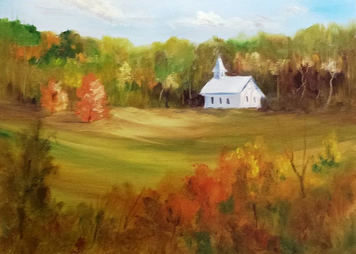 Landscape Greeting Card featuring the painting Cades Cove by Larry Hamilton