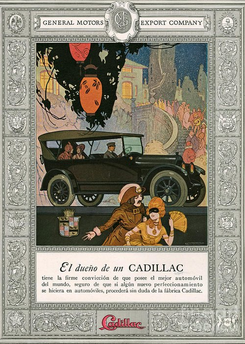 Adverts Greeting Card featuring the drawing Cadillac 1920 1920s Usa Cc Cars by The Advertising Archives