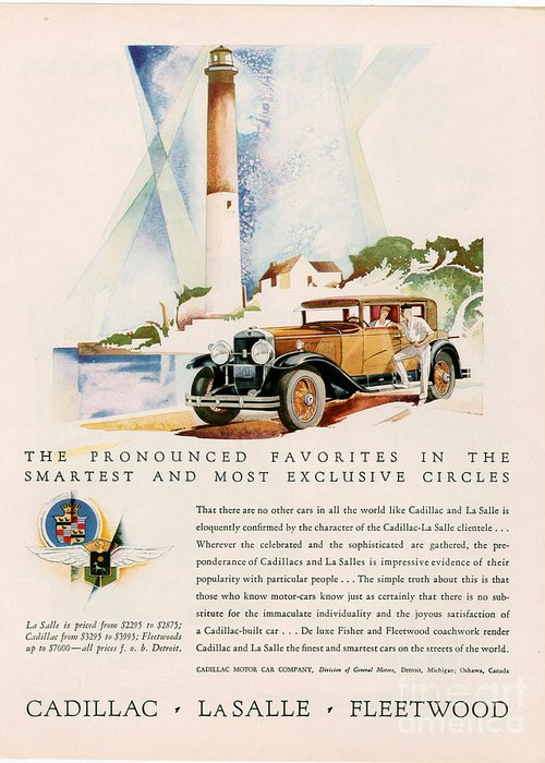 Adverts Greeting Card featuring the drawing Cadillac La Salle 1929 1920s Usa Cc by The Advertising Archives