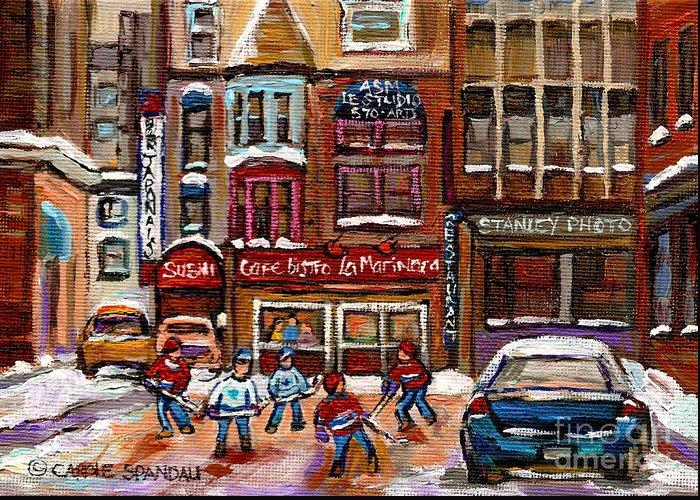 Restaurants Greeting Card featuring the painting Cafe Bistro La Marinara by Carole Spandau