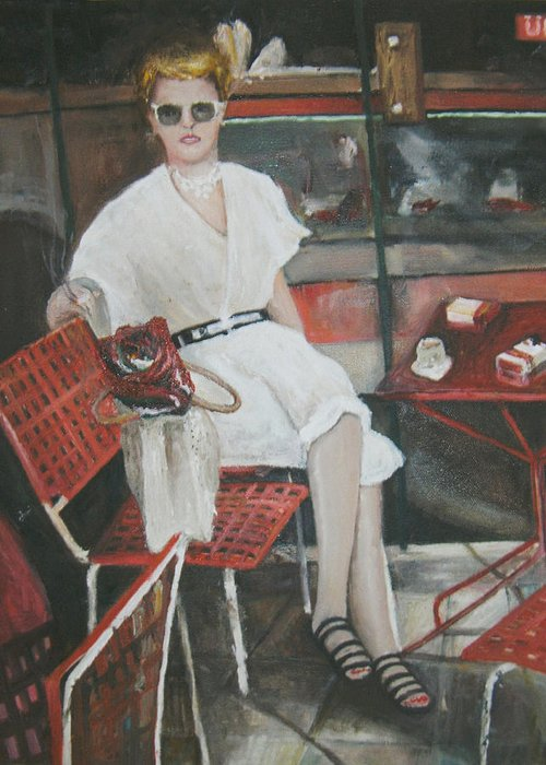 Portrait Of Woman Having Coffee At A Cafe On Top Of Budapest's Metro Station Greeting Card featuring the painting Cafe Budapest by Vasiliki Yiakatou
