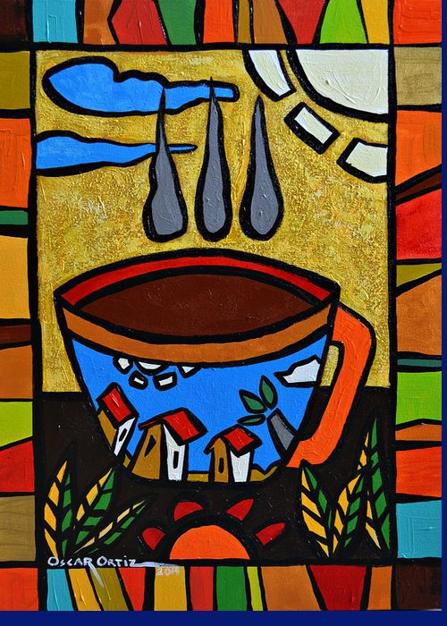 Red Greeting Card featuring the painting Cafe Criollo by Oscar Ortiz