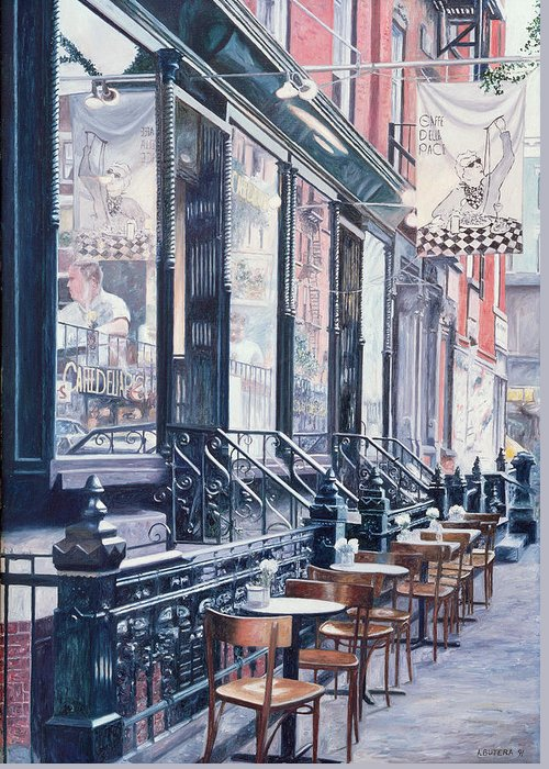 Lower East Side Greeting Card featuring the painting Cafe Della Pace East 7th Street New York City by Anthony Butera