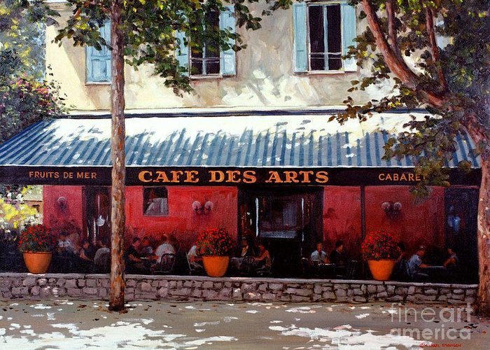 Cafe Des Arts Greeting Card featuring the painting Cafe Des Arts  by Michael Swanson