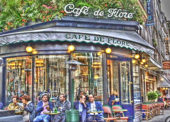 Architecture Greeting Card featuring the photograph Cafe Flore In Summer by Matthew Bamberg
