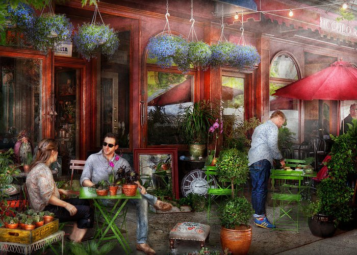 Hoboken Greeting Card featuring the photograph Cafe - Hoboken Nj - A Day Out by Mike Savad