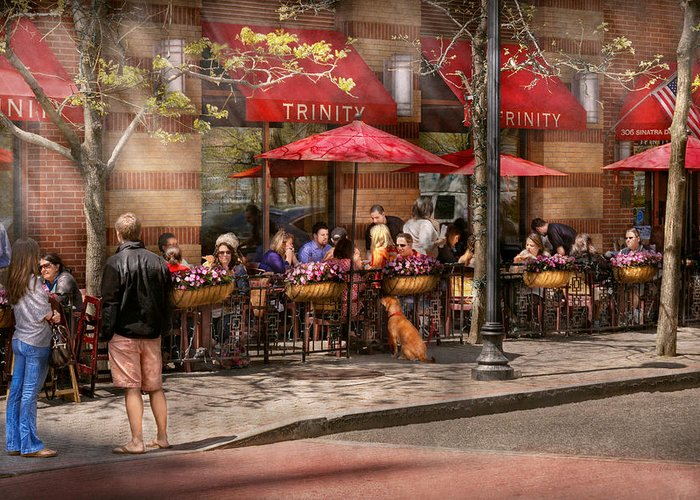 Savad Greeting Card featuring the photograph Cafe - Hoboken Nj - Cafe Trinity by Mike Savad