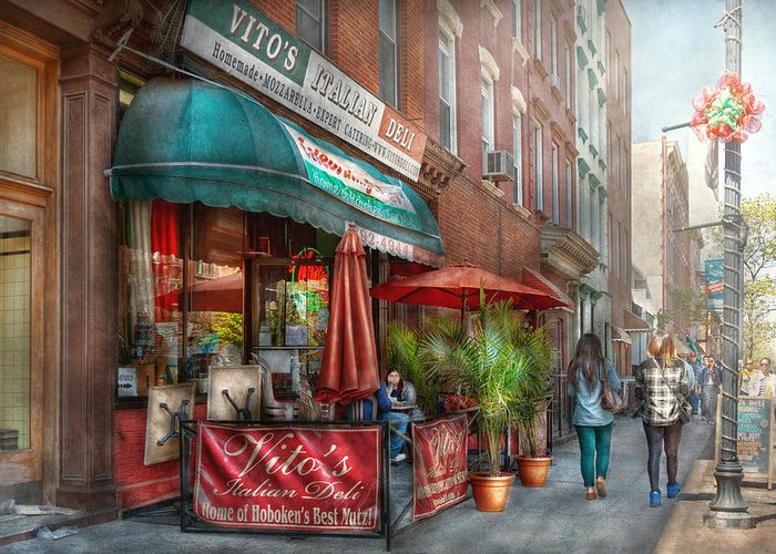Savad Greeting Card featuring the photograph Cafe - Hoboken Nj - Vito's Italian Deli by Mike Savad