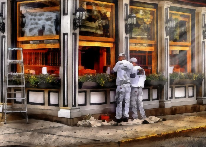 Savad Greeting Card featuring the photograph Cafe - The Painters by Mike Savad