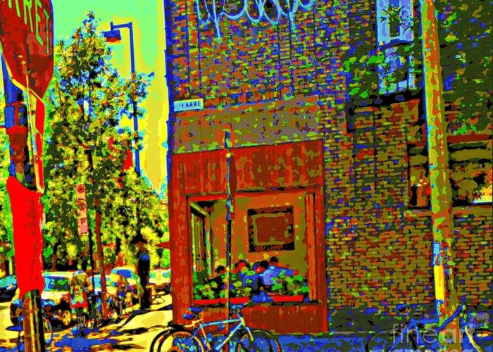 Montreal Greeting Card featuring the painting Cafe Window Corner Rue Fabre Near The Bicycle Stand Art Of Montreal Summer Street Scene by Carole Spandau