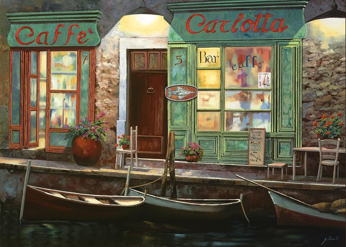 Venice Greeting Card featuring the painting caffe Carlotta by Guido Borelli