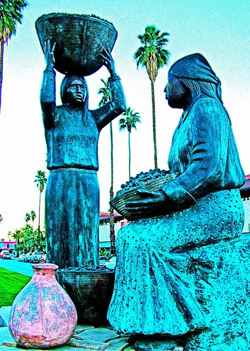 Cahuilla Women Sculpture In Palm Springs Greeting Card featuring the photograph Cahuilla Women Sculpture In Palm Springs-california by Ruth Hager