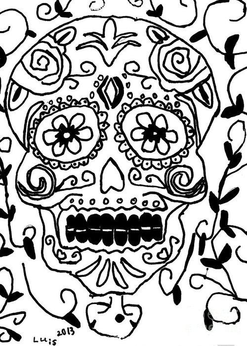 Dia De Los Muertos Greeting Card featuring the painting Calavera by Epic Luis Art