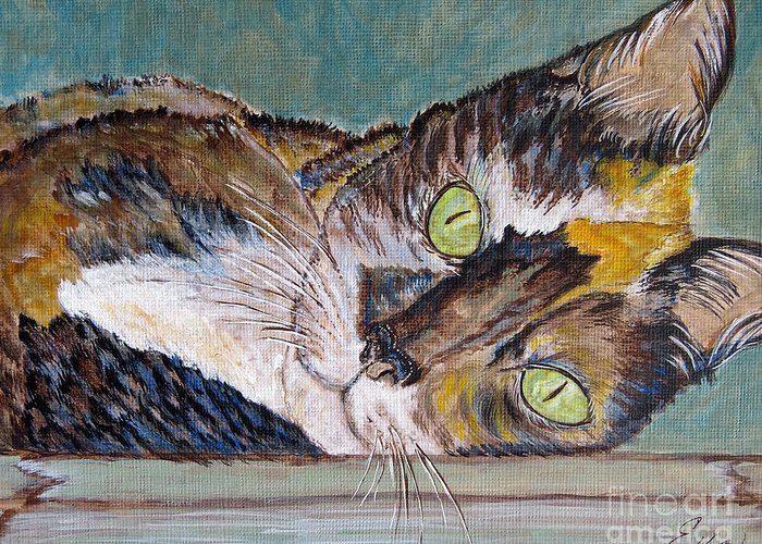 Calico Cat Greeting Card featuring the painting Calico Cat by Ella Kaye Dickey