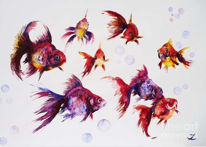 Calico Ryukin Goldfish Greeting Card featuring the painting Calico Ryukin Goldfish by Zaira Dzhaubaeva