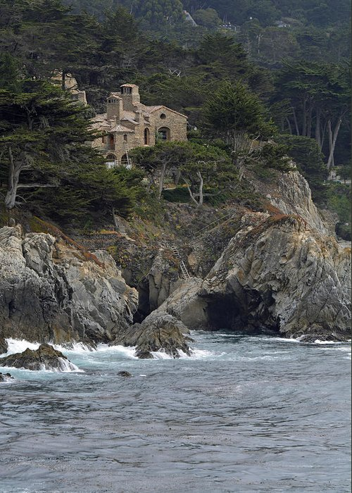 Point Lobos Greeting Card featuring the photograph California Cliffside Ocean House by Bruce Gourley