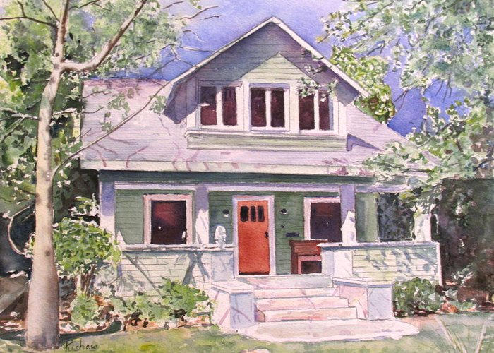 This Charming Cottage Was Commissioned By A Realtor As A Gift For A Client. Greeting Card featuring the painting California Craftsman Cottage by Patricia Pushaw