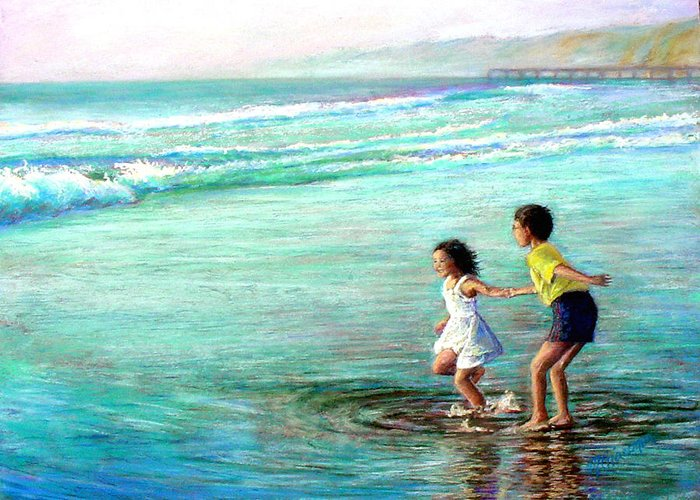 Children Greeting Card featuring the painting California Dream by Mary Giacomini