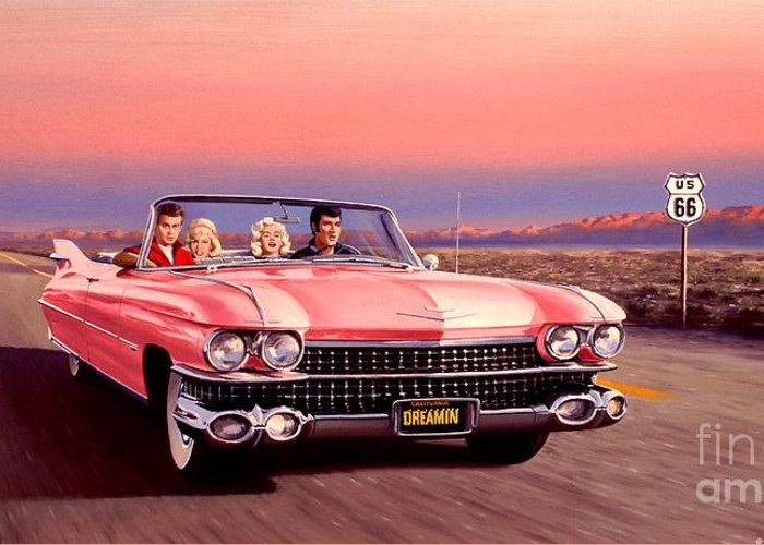 Cadillac Greeting Card featuring the painting California Dreamin' by Michael Swanson