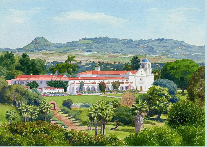 California Greeting Card featuring the painting California Mission San Luis Rey by Mary Helmreich