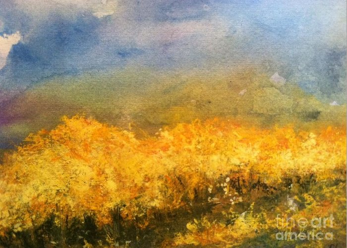 Orchards Greeting Card featuring the painting California Orchards by Sherry Harradence