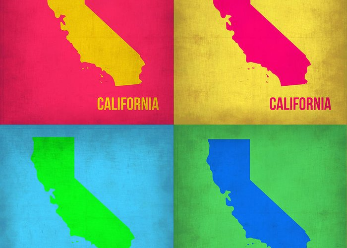 California Map Greeting Card featuring the painting California Pop Art Map 1 by Naxart Studio