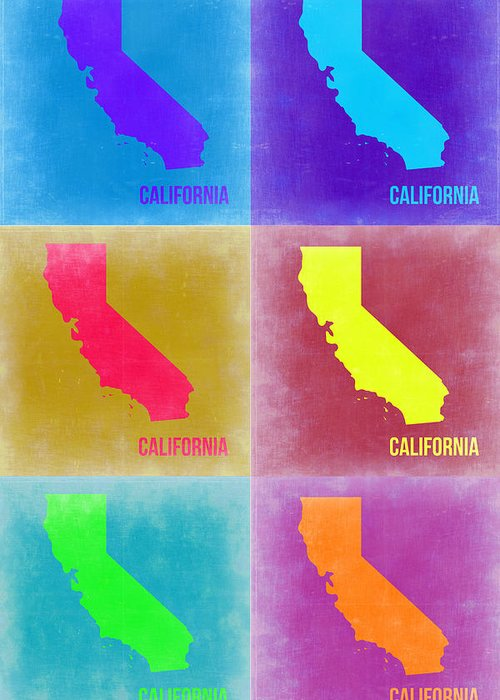California Map Greeting Card featuring the painting California Pop Art Map 2 by Naxart Studio